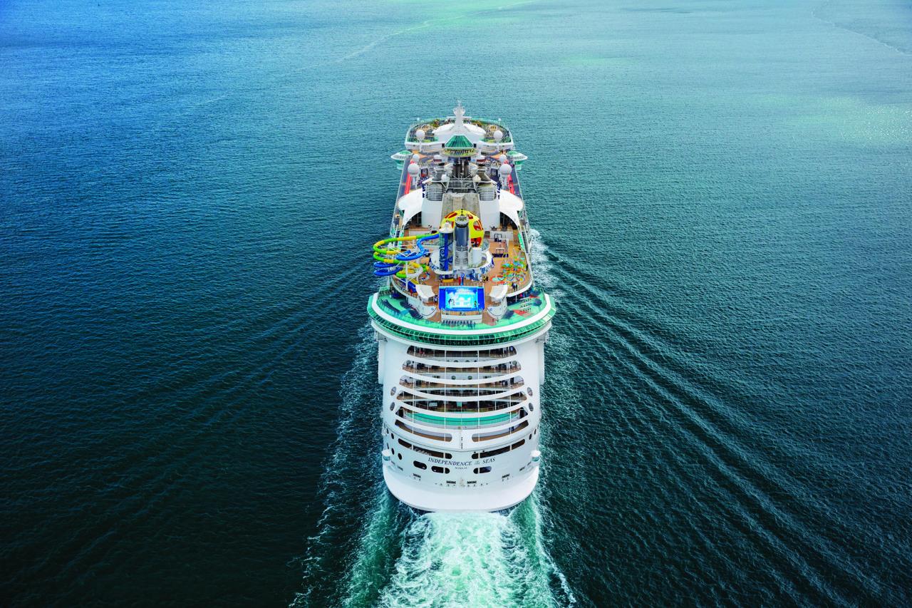 Круизный лайнер Independence of the Seas - RCI_ID_June2018_Portugal_Heli_JordanDani_Sunset_Ship_02_0196_RET_CMYK